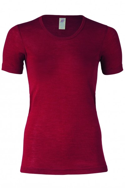 Damen Shirt kurzarm Wolle- Seide