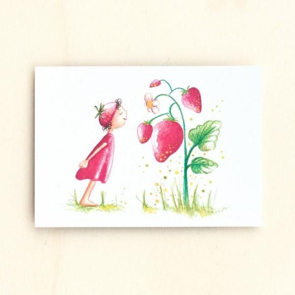 Postkarte Erdbeermädchen