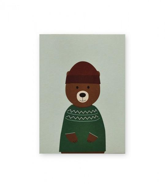 Postkarte Bär Pulli