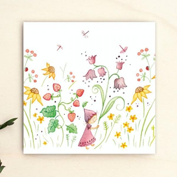 Grußkarte Blumenmädchen